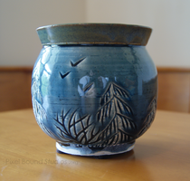 Blue and Green Tree Themed Ceramic Vase by pixelboundstudios