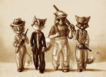 Hitmen of the Lackadaisy Speakeasy by darkspeeds