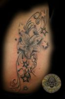 Stars Flower Lily TaT by 2Face-Tattoo