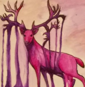 Part of my Watercolor Buck by XINights