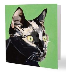 Cat greetings card 2 by hmwillustration