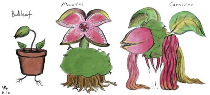 Monster 12 - Budleaf, Mawvine, Carnivine by UnderwoodART