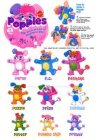 Popples collection model sheet by vanessasan