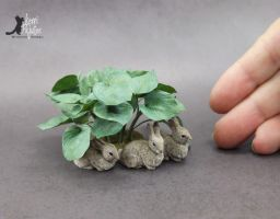 Miniature Cottontail Rabbit sculptures by Pajutee
