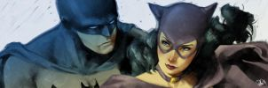 Batman and Catwoman banner for Blastoff Comics by elena-casagrande