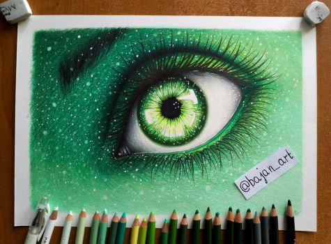 Green eye drawing by Bajan-Art