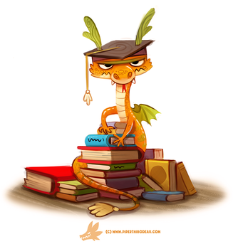 Daily Paint #1246. Book Wyrm by Cryptid-Creations