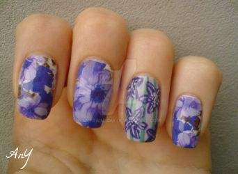Purple Flowers Nail Design by AnyRainbow