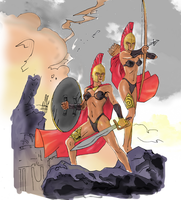 Female Spartan Warriors (Colored) by electronicdave