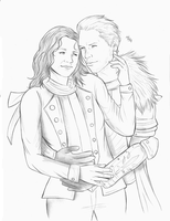 Sketch commission - Corinne and Cullen by LadyMintLeaf