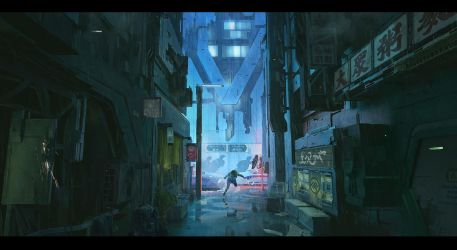 Cyberpunk Series - 01 Alley Chase by FranklinChan