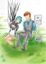 Kimmy and Bruce: Reading Lesson by Stardust-on-my-mind