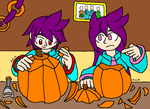 Rob and Rebecca carve pumpkins by mitchika2
