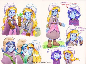 Smurfs: Tall AU Smurfette and Smurfstorm by rinacat