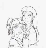Neji and TenTen outlines by Shel-chan