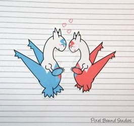 Latios/Latias Stickers and Magnets by pixelboundstudios