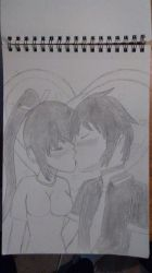 valentine's day sketch: Haru and Homura by dragonsouloverlord5