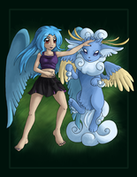 Arti and the unnamed air eevee by faeore