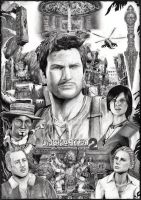 Uncharted 2 - drawn poster by catmuns