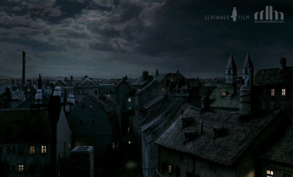 Vienna Rooftops Anno 1910 Matte Painting by Jacklionheart