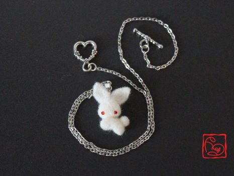 Customizable Chibi Bunny Necklace - Needle felted by TheHeartofJapan