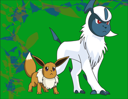 Absol and Eevee Posed by DrTran08