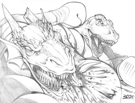 T-REX VS. DRAGON COMMISSION by dovianax