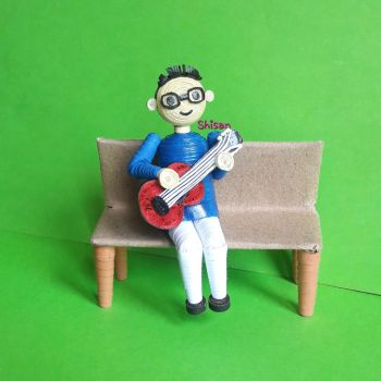 3d quilling boy with guitar by shisan papercrafts by ShisanPapercrafts25