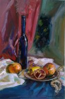 Still Life with a Blue Bottle and Pomegranate by ShastinaHell-N
