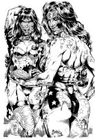Zombies (Zatanna and WW) - Ink by johncastelhano