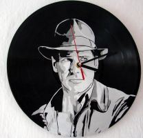 Indiana Jones on vinyl record clock by vantidus