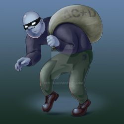 a thief with a bag by ben--g