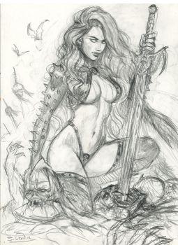 Lady Death commission step 1 by sebastien-grenier