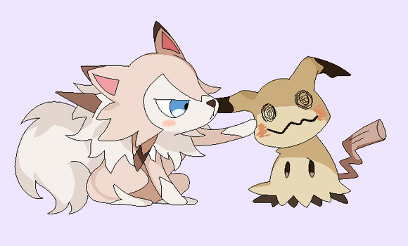 Lycanroc and Mimikyu lineart by michy123