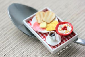 Miniature Food - Breakfast Tray Red by PetitPlat