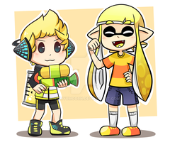 A kid and a squid by YumYumCorn