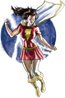 Mary Marvel watercolor by craigcermak