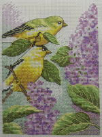 Goldfinch and Lilacs Cross-Stitch by jenninn