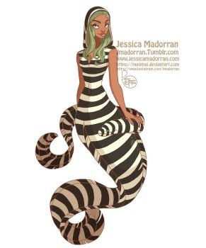 MerMay Day 07 - Zebra Moray Eel Mermaid by MeoMai