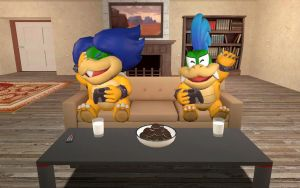 Two koopalings playing the video game by russellmk2