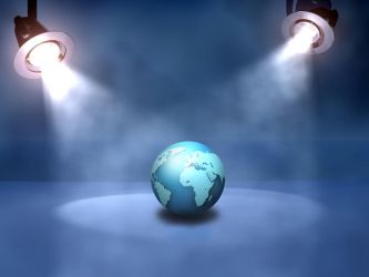 globe under spotlights by AbhishekGhosh