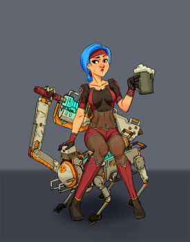Girl and Robit Dog by stonepro