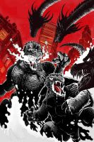 Godzilla and Gamera vs King Ghidorah by Balakin1