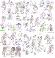 Coloured-line sketch dump by Granitoons