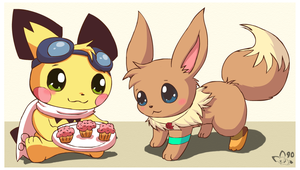 Sparks shares with eevee by pichu90