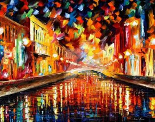 Night Bridge by Leonid Afremov by Leonidafremov