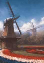Dutch windmills by stoudaa