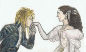 Jareth kissing on Sarah's hand by gagambo