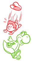 Yoshi and Baby Mario Sketch by JamesmanTheRegenold