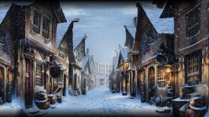 Pottermore Background: Diagon Alley at Christmas by xxtayce